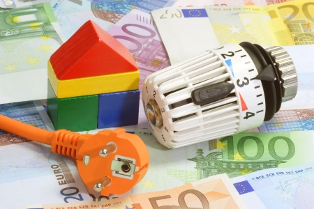 thrifty: Euro bank notes with power cable and thermostat