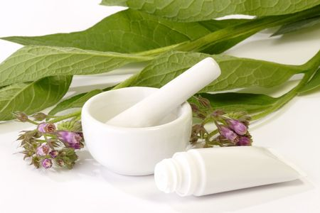 formulation: Comfrey plant with mortar and tube on bright background