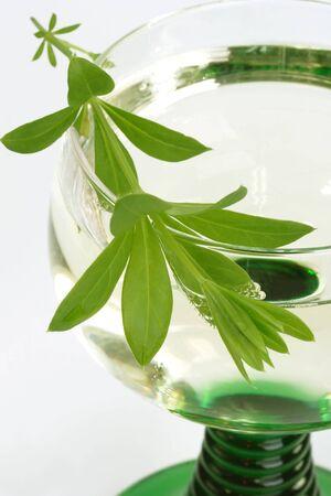 woodruff: Close-up of woodruff wine with leaves - shot in studio Stock Photo