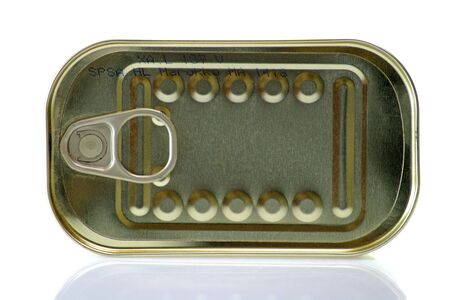 canned food: Canned food in a can on bright background