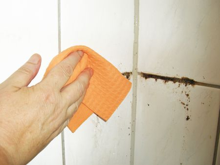 Detail from cleaning a mess and moldy bathroom. Stock Photo