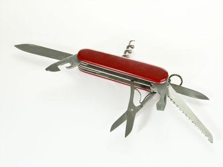 kozik: Opened penknife on bright background