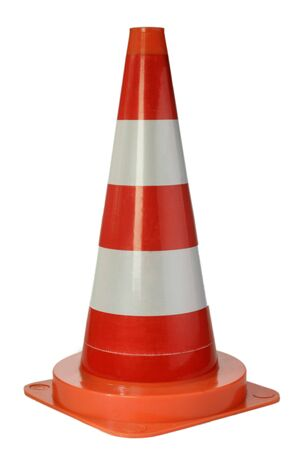 Danger cone isolated on white background Stock Photo