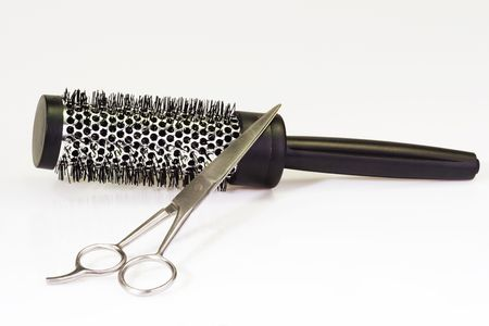 Haircutting tools on bright background Stock Photo - 3606042