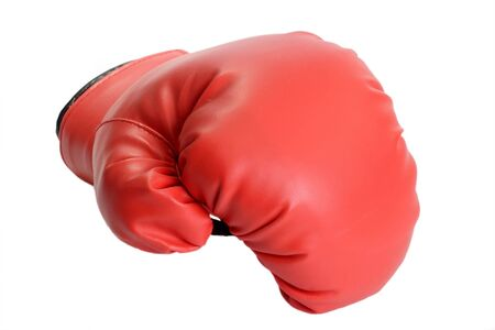 white glove: One red boxing glove isolated on white background Stock Photo