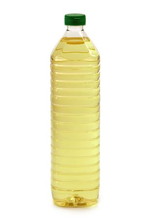 cooking oil: Cooking oil in a plastic bottle - isolated on white background Stock Photo