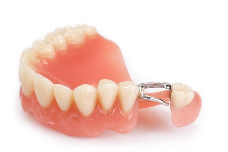 Dental prosthesis on bright background