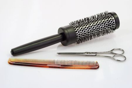 haircutting: Haircutting tools on bright background