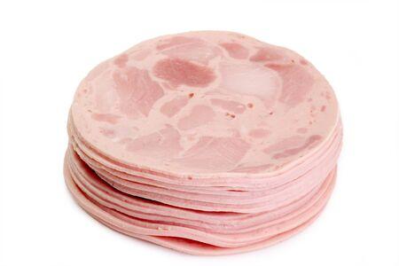 Fresh sliced sausage on bright background Stock Photo - 3996137