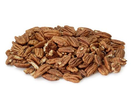 pecan: Pecan nuts on bright background Stock Photo