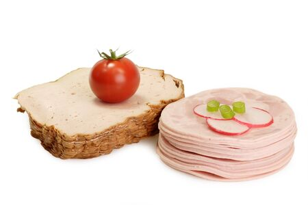 Fresh sliced sausage on bright background Stock Photo - 4145931