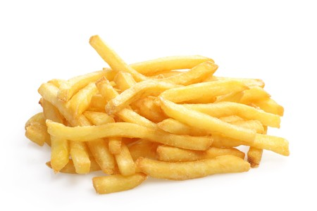 Crunchy French Fries on white background Stock Photo