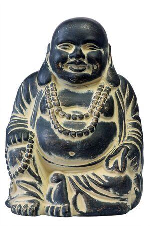 mindfulness: Boeddha op een witte achtergrond, geïsoleerd. Stockfoto