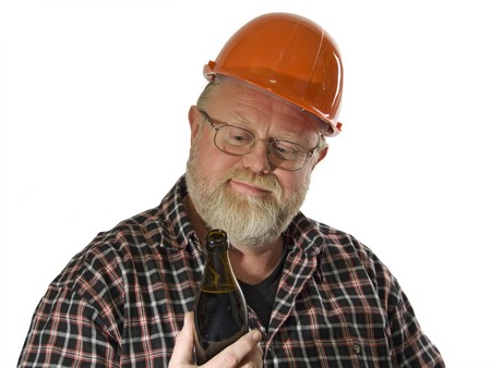 Craftsman with a bottle beer on white background Stock Photo - 4359009