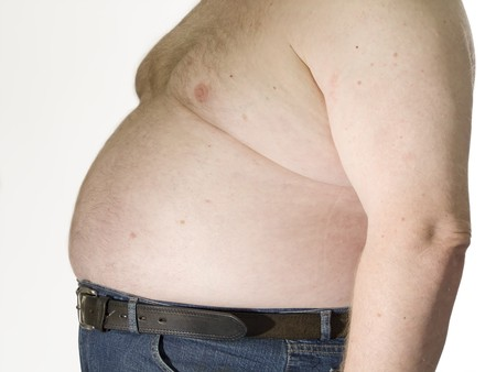 pot belly: Fat man with no shirt and his belly hanging over his pants.
