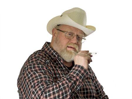 Smoking man on white background. Shot in studio. Stock Photo - 4359007