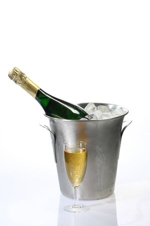 Champagne toast composition on bright background photo