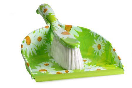 Dustpan en penseel, geïsoleerd op een witte achtergrond. Stockfoto