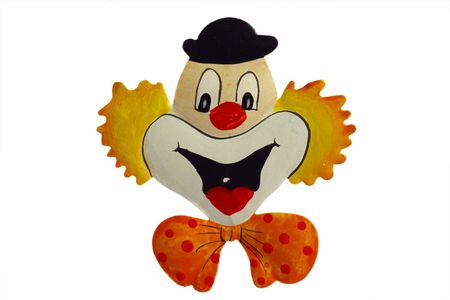 Happy clown as tin plate sign on white background  photo