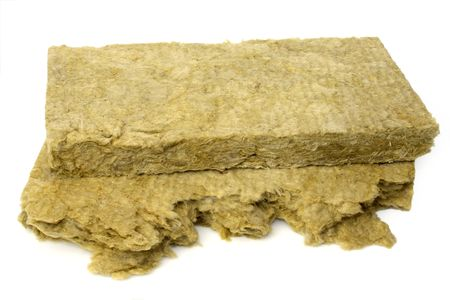 rock wool: Thermal insulation material on bright background