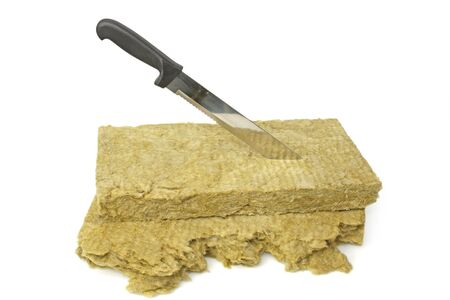 rockwool: Thermal insulation material on bright background