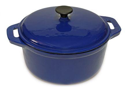tempered: Blue ceramic pot isolated on white
