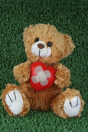 playthings: Cute teddy bear with decorative heart on green background Stock Photo