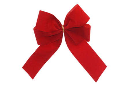 Red gift ribbon isolated on white background photo