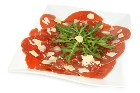 carpaccio: Beef carpaccio with pepper, rucola and parmesan