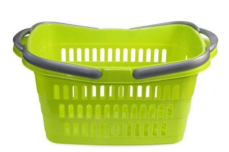 Green plastic shopping basket isolated on whtie background