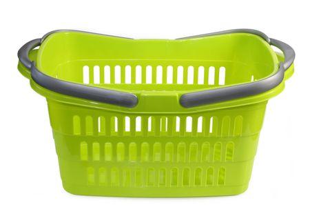 Groene plastic winkelmandje geïsoleerd op whtie achtergrond Stockfoto