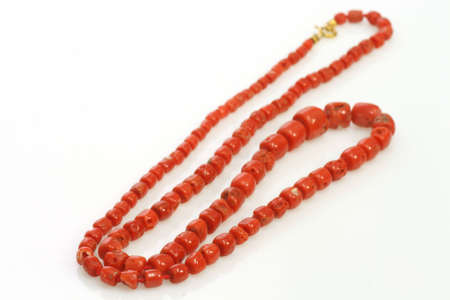 perl: Necklace with perl on bright background Stock Photo