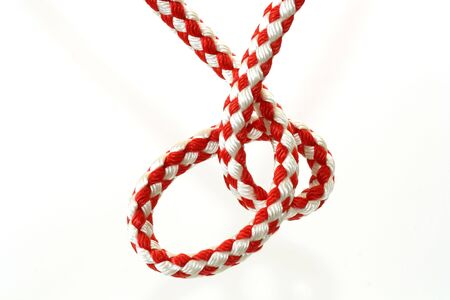 splice: Rope with knot close up. Isolated on white background.