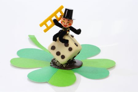 Lucky marzipan pig with cloverleaf and mushroom, on bright background Stock Photo - 5283040