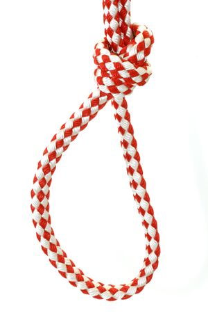 kink: Rope with knot close up. Isolated on white background.