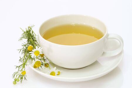 Herbal camomile tea on bright background Stock Photo - 5518499
