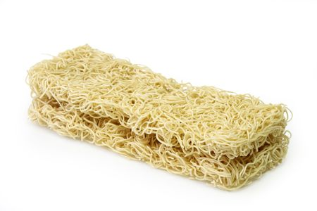 mie noodles: Raw mie noodles from China on bright background