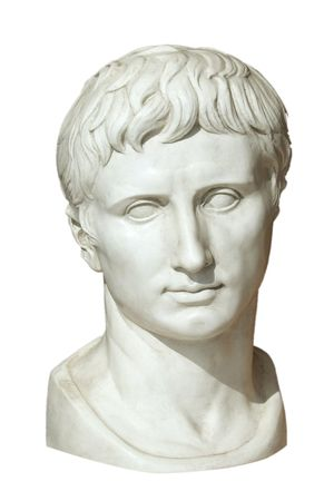 Isolated sculpture from Roman emperor Augustus