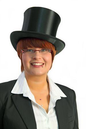 Attraktiv Business-Frau mit Hut ein Over white Background