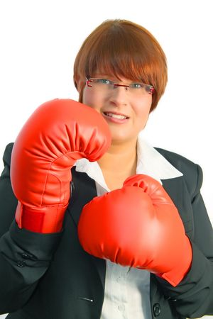 knock out: Businesswoman ready to knock out some competitors