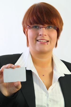 communicaton: Young attractive holding a business card. Isolated on white.