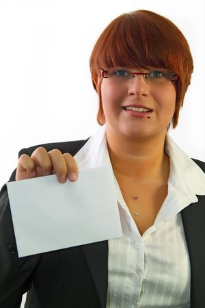 communicaton: Young attractive holding a business card.