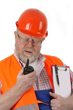 walkie talkie: Foreman with walkie talkie and clipboard on white background
