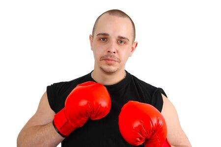 Young caucasian man with red box gloves on white background Stock Photo - 6997115