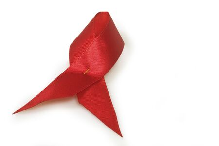 Aids awareness red ribbon.Isolated on white Stock Photo - 7963253