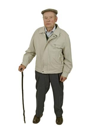Een oudere man walking stick geïsoleerd op wit.   Stockfoto