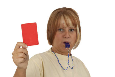 Young woman with whistle and red card isolated on white background photo