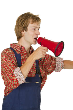 Young handcrafter with megaphone isoladet on white background photo