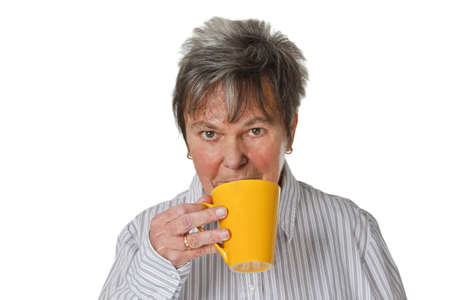 Woman drinking coffee isolated on white background photo