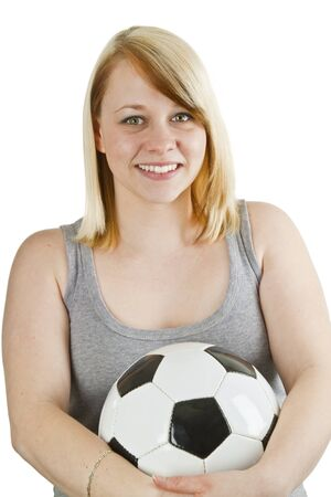 Young woman wiith soccer ball- isolated on white photo